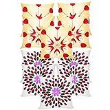 Felt & Laser Leaves Embroidery Cushion Covers Combo Beige & Ivory 40 X 40 Cms(10 Pcs Set)