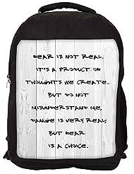 Snoogg Fear Is A Choice Backpack Rucksack School Travel Unisex Casual Canvas Bag Bookbag Satchel