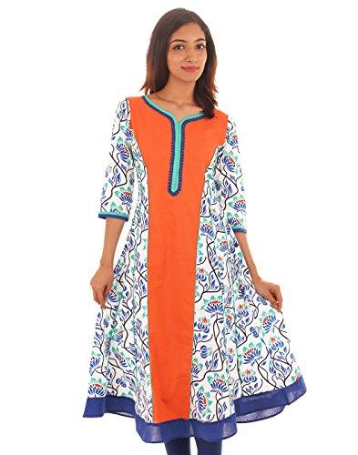 Cotton Printed Orange Anarkali With Lace Work