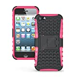 Heartly Flip Kick Stand Hard Dual Armor Hybrid Bumper Back Case Cover For Apple IPhone 5 5S 5G - Pink