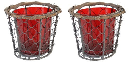 4 Chicken Wire And Red Glass Votive Candle Holders - Set Of 2
