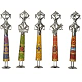 Pushpa Wood And Metal Lady Musicians-(Set Of 5, 5 In X 21 In, Yellow)
