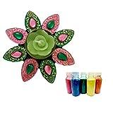 Daksh Creations Floral Rangoli Color And Diya With Green And Pink Pettles (Toran )