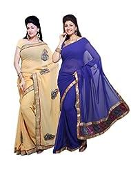 AISHA Self Design, Solid Fashion Georgette Multicolor Sari (Pack Of 2)