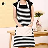 New Practical Women Cute Kitchen Cooking Bib Apron Dress With Pocket Canvas Hot-#1 (White And Black Stripes)