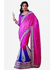 Sareez Purple & Pink Color Chiffon Butti & Net Saree.