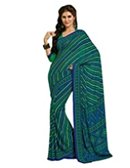 Inddus Exclusive Women Graceful Green Georgette Printed Saree