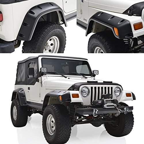 E-Autogrilles 6 Piece Kit 6″ Wide Fender Flares with Mounting Hardware for 97-06 Jeep Wrangler TJ (17190)