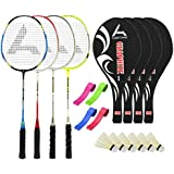 Guru GraphiteBR04 Series-COMBO-3 Badminton Racquets Set Pack Of Four With Four Cover Six Shuttlecock & Four Hand...