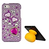 VanGoddy Hearts Rhinestones Full Diamond Back Cover For Apple IPhone 5s (Purple) + Bluetooth Suction Stand Speakers...