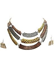 Bid4Desire Gold Multi-Colour Metal Choker Three Color All Metal Choker Necklace For Women