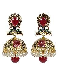 Traditional Muchmore Partywear Gold Tone Jhumki Polki Earrings Women's Jewelry