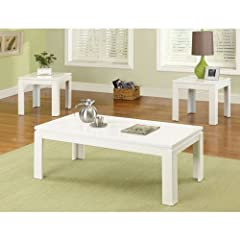Alarice Contemporary Style White Lacquer Coating 3-Piece Coffee Table & End Table Set