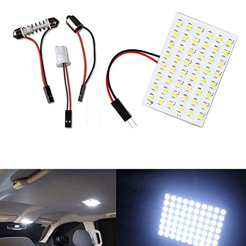 XT AUTO 10Pcs White T10 BA9S Festoon LED 48SMD Panel Interior Dome Map RV Trailer Light