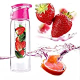 Aomerly Fruit Infusing Water Bottle With Fruit Infuser And Flip Lid Tritan BPA Free 800ml Red