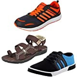 Earton Men Combo Pack Of 3 Sports Running Shoes With Casual Shoes & Sandals - B0743956LB