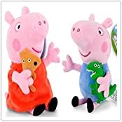 "Love Peppa Pig Plush Toy Peppa&Geroge 19cm/7.5"" X2"