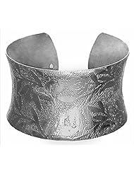 DollsofIndia White Carved Metal Cuff Bracelet - Metal - White - B00VNWQQ6G