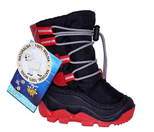 Muflon Renbut Baby Jungen Mädchen Unisex - Kinder Schneeschuhe Winterschuhe Snowboots Gummistiefel gefüttert mit Wolle Zugband Schnürsenkel Schwarz Rot