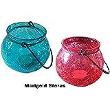 Red & Blue Crackled Glass Decorative Designer Lantern Tealight Holder - Set Of 2