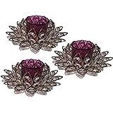 Inspiration World Purple Crystal Lotus 3 Pcs Silver Plated Candle Holder Set