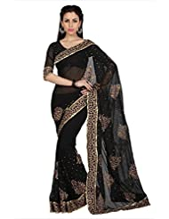 Designersareez Women Black Faux Georgette Saree With Unstitched Blouse (1577)