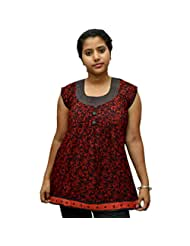 Odishabazaar Women's Red Black Cotton Printed Short Top Blouse