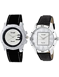Timelf Combo Of Two Analog Round Dial Casual Men Wrist Watch In Silver Case And Leather Strap - B01KZDYI9A