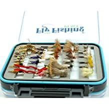The Fly Fishing Place Deluxe Trout Fly Assortment 3 Dozen Fly Fishing Flies With Waterproof Microslit Fly Box