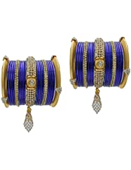 Blue Bridal Chura Jhumka Wedding Bangles Chuda By My Design(size-2.4)