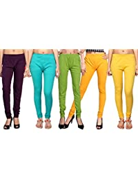 Comix Cotton Hosiery Fabric Women Legging Combo Set Of 5 - B01KOBUKKE