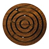 Rusticity Wooden Puzzle Board Game - 5 in x 5 in - Circular Labyrinth Maze Puzzle For All Ages - Handmade from Rosewood
