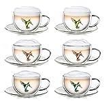Creano Thermo-Tasse Hummi doppelwandige Tee-/Latte Macchiato-/Thermotasse Kolibri mit Untersetzer 250 ml, 6-teilig, 2x blau / rot / grün