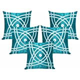 Abstractive Design Blue N Sky Blue Cushion Covers 50x50 Cms (Set Of 5)