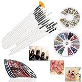 RUIMIO 15 Pcs Nail Art Brushes, 12 Colors Nail Art Stickers, 30 Colors Nail Tape And 3D Nail Art Manicure Wheel...