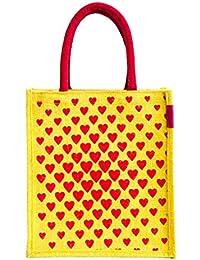 H&B Women's Lunch Bag/handbag/tote Bag (Heart Square,yellow, Size: 11x9x6 Inches )