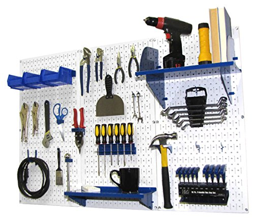 Wall Control 30-WRK-400 WBU Pegboard Organizer 4′ Metal Standard Tool Storage Kit with White Tool Board and Blue Accessories