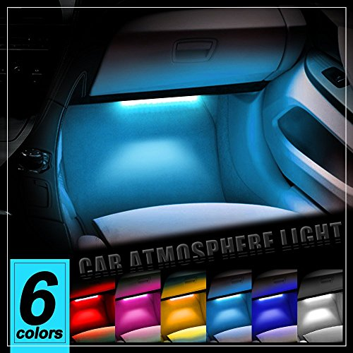 Thunder® 4pcs DC 12V Car Interior LED Light Underdash Lighting Kit – Auto Decorative Atmosphere Neon Lights, With Brightness Regulator Features for All Vehicles – Single Color Ice Blue