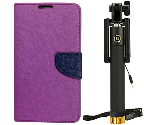 Novo Style Fancy Diary Wallet Flip Cover For Sony Xperia C4 - Purple + WIRED Selfie Stick Portrait Taker & Video...