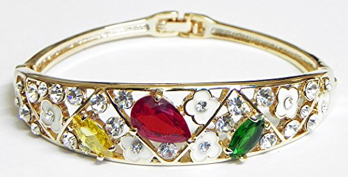 DollsofIndia Red, Green And White Stone Studded Cuff Bracelet - Metal - White