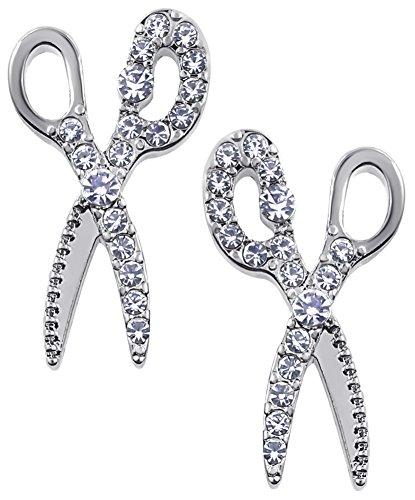 Large Crystal Silver Tone Shears Stud Earrings