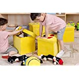 ShopyBucket Funny Cheap 2 In 1 Emoji Foldable Toy Storage Box Chair Set Wholesale Newest Cute Kids Home Collapsible Storage Box(pack Of 3)-Design May Vary