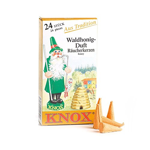 KNOX Honey Scented Incense Cones, Pack of 24, Made in Germany