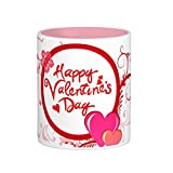 Easyhome Brand Valentine (Happy Valentine's Day) 11oz Coated White Ceramic Coffee Mug With Quote