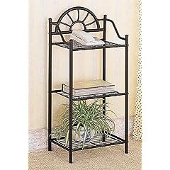 Coaster Garden Plant / Phone Stand Corner Table Black Wrought Iron