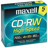 Maxell CD-RW Discs 700MB 80min 12x W Jewel Cases Gold 5 Pack 1-Pack