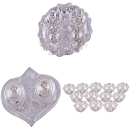 GS MUSEUM Silver Plated Rani Kumkum Plate, Silver Plated Pan Kumkum Plate And Silver Plated Set Of 12 Lotus Flower...