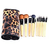 Unimeix 12 Piece Professional Cosmetic Makeup Brush Tool Set Kit With Leopard Print Pouch Wood