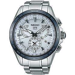 Seiko Mens ASTRON GPS Titanium Solar Dual Time Watch, SSE047