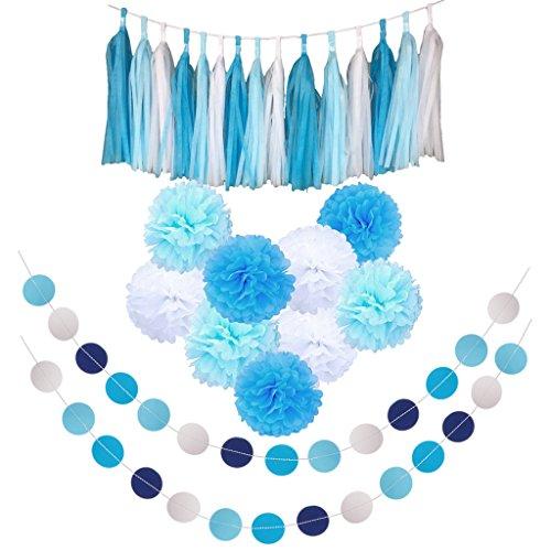 MagiDeal Wedding Birthday Party Decor Kit Paper PomPom Circle Banner Tassel Garland Hanging Decoration Photo Prop